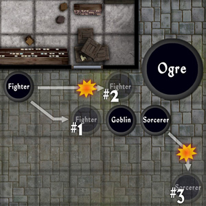 In This Combat The Fighter And Sorcerer Fight An Ogre His Goblin Buddy 1 Can Safely Roach Way Without Provoking Of