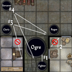 1 The Fighter Is Adjacent To Ogre And Nothing Blocks Him From Reaching It Does Not Have Cover Against